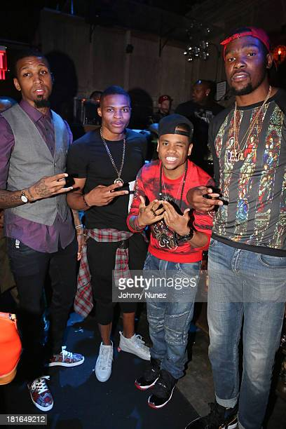 Cliff Dixon Russell Westbrook Mack Wilds and Kevin Durant attend Kevin Durant's 25th Birthday Party at Avenue on September 22 2013 in New York City