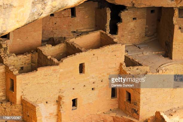cliff dwellings walls and windows - pueblo colorado stock pictures, royalty-free photos & images