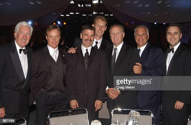 Cliff Fletcher Mike Barnett head coach Bob Francis goaltender Sean Burke Steve Ellmon Jim Lites and Laurence Gilman of the Phoenix Coyotes during the...