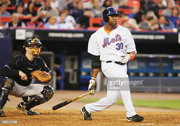 Cliff Floyd of the New York Mets hits an RBI double in the fourth inning against the Arizona Diamondbacks on June 2 2005 at Shea Stadium in the...