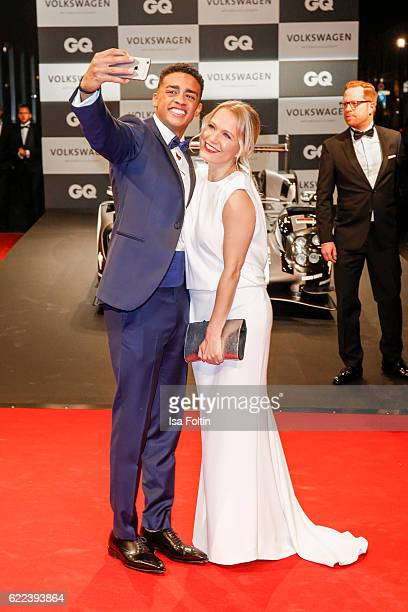 Cliff Goncalo GQ Gentleman 2016 and german moderator Nova Meierhenrich attends the GQ Men of the year Award 2016 at Komische Oper on November 10 2016...