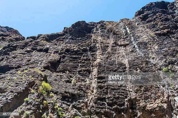 Cliff in the Masca Gorge, rock formation, volcanic rocks, Tenerife, Canary Islands, Spain
