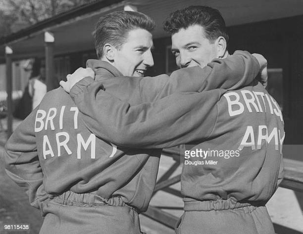 Cliff Jones and Alex Parker , of the British Army football team, in training at Aldershot, before a game against the French army, 18th February 1958....