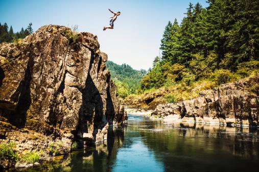 Cliff Jumping Man 509985465