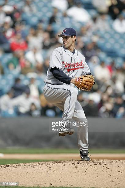 Cliff Lee of the Cleveland Indians pitches during the game against the Chicago White Sox at US Cellular Field on April 7 2005 in Chicago Illinois The...