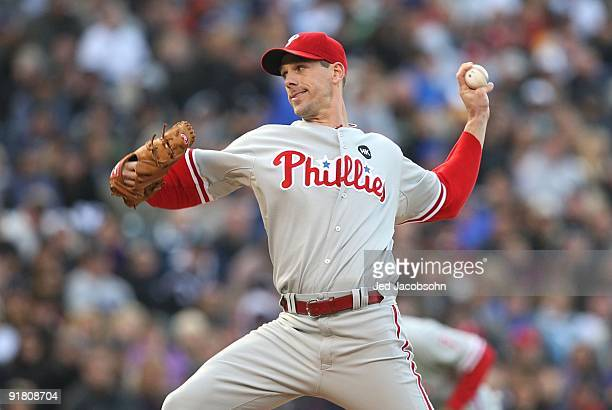 Cliff Lee of the Philadelphia Phillies pitches against the Colorado Rockies in Game Four of the NLDS during the 2009 MLB Playoffs at Coors Field on...