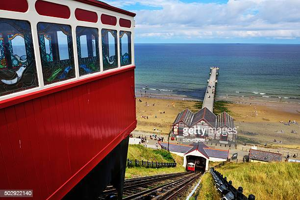 cliff lift and pier, saltburn by the sea, england - saltburn stock photos and pictures