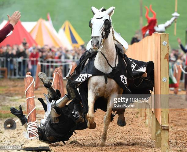 Cliff Marisma of Australia is knocked off his horse whilst competing in the World Jousting Championships at Lardner Park on June 01 2019 in Melbourne...