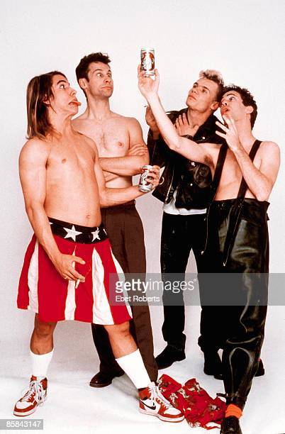 Photo of RED HOT CHILI PEPPERS Cliff MARTINEZ and FLEA and and Hillel SLOVAK and Anthony KIEDIS LR Anthony Kiedis Cliff Martinez Flea Hillel Slovak...