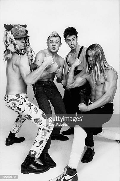 Photo of RED HOT CHILI PEPPERS Cliff MARTINEZ and FLEA and Hillel SLOVAK and Anthony KIEDIS LR Cliff Martinez Flea Hillel Slovak Anthony Kiedis posed...