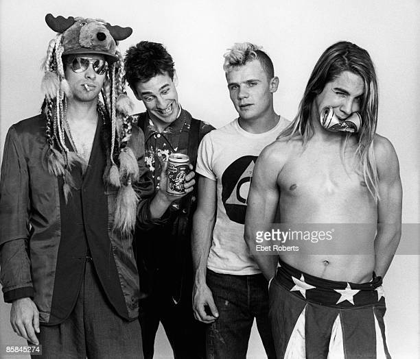 Photo of RED HOT CHILI PEPPERS Cliff MARTINEZ and FLEA and Hillel SLOVAK and Anthony KIEDIS LR Cliff Martinez Hillel Slovak Flea Anthony Kiedis posed...