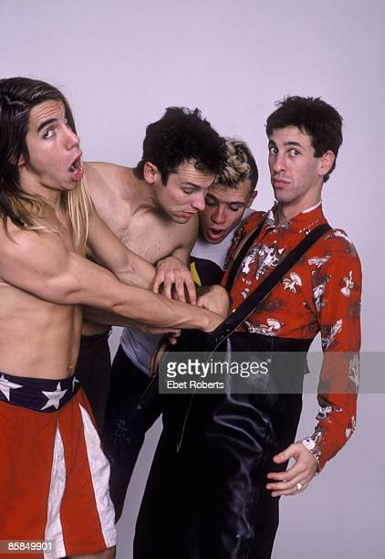 Photo of RED HOT CHILI PEPPERS Cliff MARTINEZ and FLEA and Hillel SLOVAK and Anthony KIEDIS LR Anthony Kiedis Cliff Martinez Flea Hillel Slovak posed...