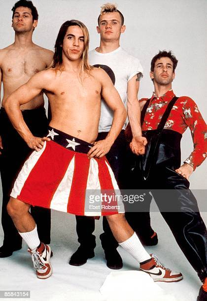 Photo of RED HOT CHILI PEPPERS Cliff MARTINEZ and FLEA nd Hillel SLOVAK and Anthony KIEDIS L to R Cliff Martinez Anthony Kiedis Flea Hillel Slovak...