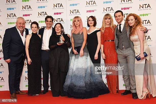 Cliff Parisi Stephen McGann Helen George Charlotte Richie Laura Main Jack Ashton and Victoria Yeates from Call The Midwife pose in the winners room...