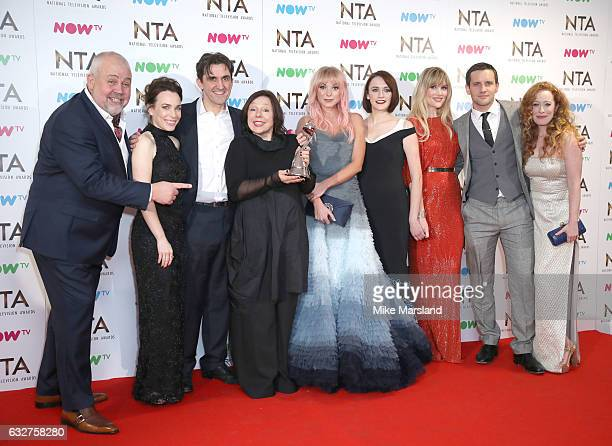 Cliff Parisi Stephen McGann Helen George Charlotte Richie Laura Main Jack Ashton and Victoria Yeates poses in the winners room at the National...