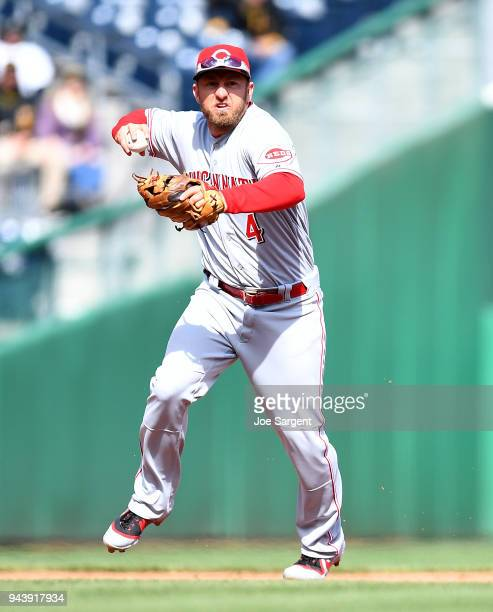 Cliff Pennington of the Cincinnati Reds in action during the game against the Pittsburgh Pirates at PNC Park on April 8 2018 in Pittsburgh...