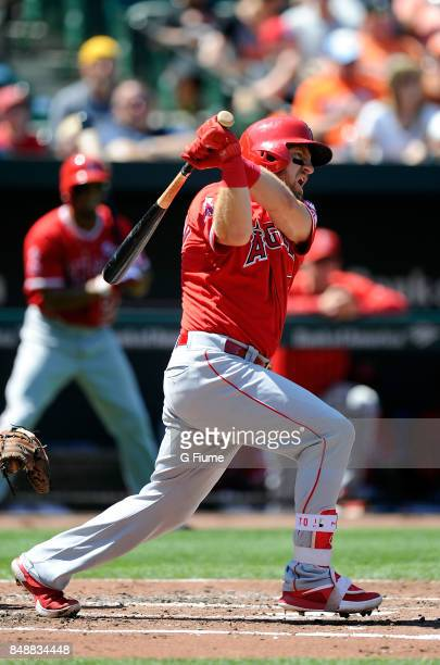Cliff Pennington of the Los Angeles Angels bats against the Baltimore Orioles at Oriole Park at Camden Yards on August 20 2017 in Baltimore Maryland