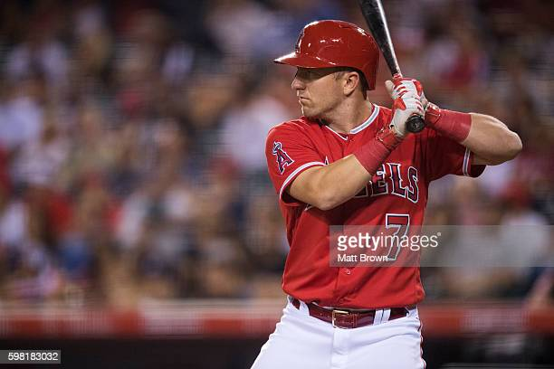 Cliff Pennington of the Los Angeles Angels of Anaheim at bat during the seventh inning of the game against the Seattle Mariners at Angel Stadium of...