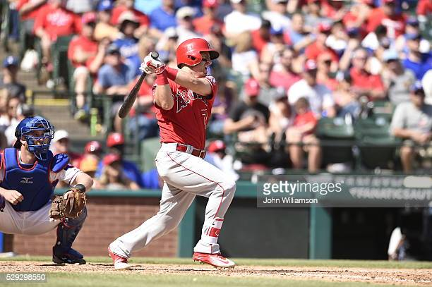 Cliff Pennington of the Los Angeles Angels of Anaheim bats against the Texas Rangers at Globe Life Park in Arlington on May 1 2016 in Arlington Texas...