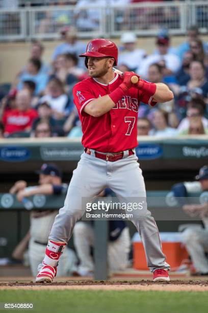 Cliff Pennington of the Los Angeles Angels of Anaheim bats against the Minnesota Twins on July 5 2017 at Target Field in Minneapolis Minnesota The...