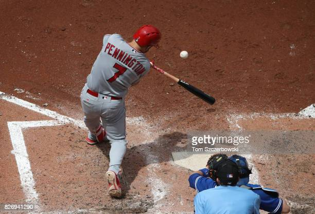 Cliff Pennington of the Los Angeles Angels of Anaheim bats in the sixth inning during MLB game action against the Toronto Blue Jays at Rogers Centre...