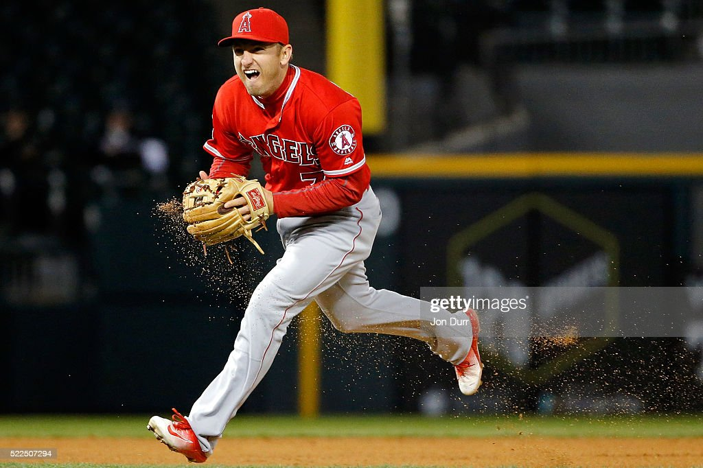Cliff Pennington #7 of the Los Angeles Angels of Anaheim fields the ball and throws to first base to force out Todd Frazier #21 (not pictured) of the Chicago White Sox to end the sixth inning at U.S. Cellular Field on April 19, 2016 in Chicago, Illinois.