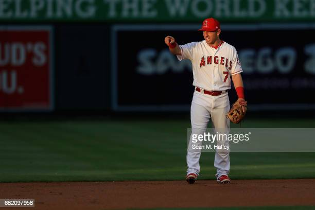 Cliff Pennington of the Los Angeles Angels of Anaheim looks on during the first inning of a game against the Detroit Tigers at Angel Stadium of...