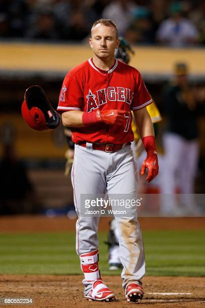 Cliff Pennington of the Los Angeles Angels of Anaheim reacts after striking out against the Oakland Athletics during the sixth inning at the Oakland...