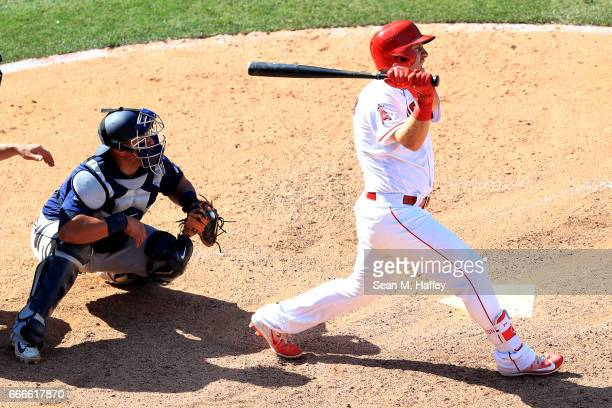Cliff Pennington of the Los Angeles Angels of Anaheim watches a game winning single during the ninth inning of a game against the Seattle Mariners...