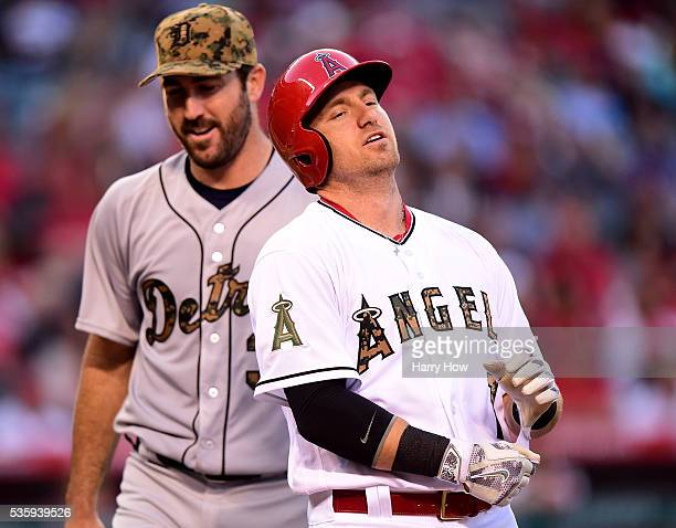 Cliff Pennington of the Los Angeles Angels reacts as he is thrown out by Justin Verlander of the Detroit Tigers to end the fifth inning at Angel...