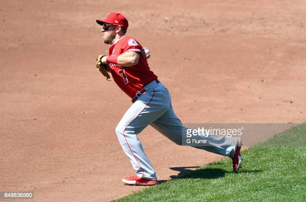 Cliff Pennington of the Los Angeles Angels throws the ball to first base against the Baltimore Orioles at Oriole Park at Camden Yards on August 20...