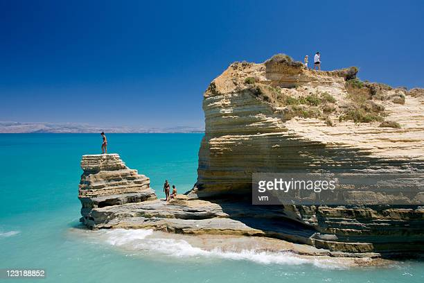 cliff - corfu stock pictures, royalty-free photos & images