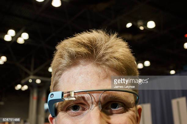 Cliff Redeker from Google wearing Google Glass Google's internet connected glasses while at the Bookexpo America at the Javitz Center in New York