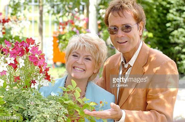 Cliff Richard and Gloria Hunniford during Hampton Court Flower Show at Hampton Court in London Great Britain