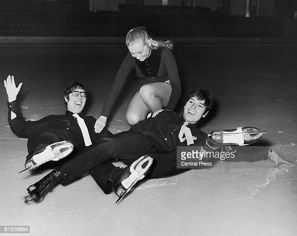 Cliff Richard and guitarist Hank Marvin of the Shadows take skating lessons from Leslie Norfolk at the Silver Blades Ice Rink in Streatham 26th...