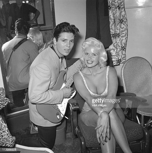 Cliff Richard and Jayne Mansfield posed 1959 Richard holds a Fender Stratocaster guitar