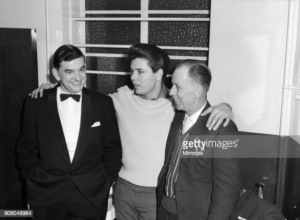 Cliff Richard and The Shadows backstage at The Regal, Cambridge 10th November 1959. Cliff with his father Rodger Webb .