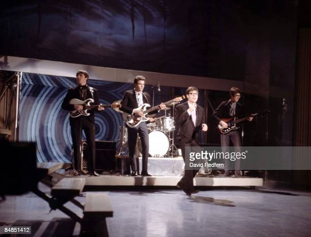 Cliff Richard and The Shadows perform on stage during filming of 'BBC Show of the Week' at BBC Television Centre in London on 6th March 1966. Members...