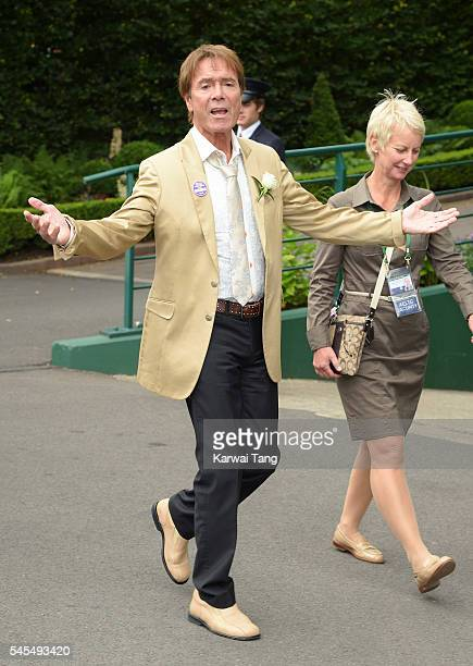 Cliff Richard attends day eleven of the Wimbledon Tennis Championships at Wimbledon on July 08 2016 in London England