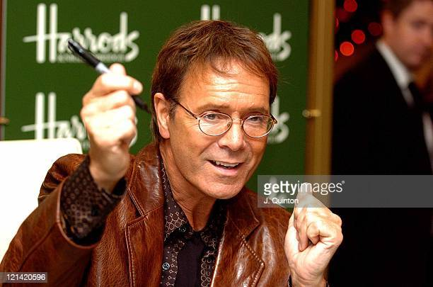 Cliff Richard during Cliff Richard Signs Copies of his New DVD 'Cliff Richard Live' at Harrods in London Great Britain