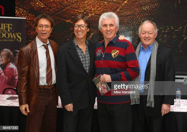 Cliff Richard Hank Marvin Bruce Welch and Brian Bennett attend DVD signing at HMV Oxford Street on November 30 2009 in London England