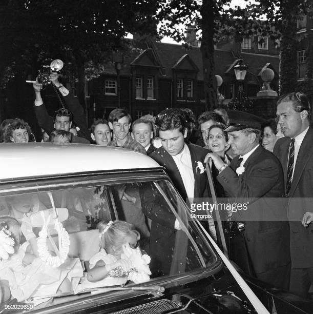 Cliff Richard pictured at the wedding of Miss Ann Findley and Mr Bruce Welch. August 1959.