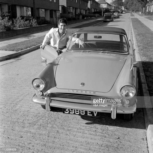Cliff Richard posed at home with Sunbeam Alpine car 1958