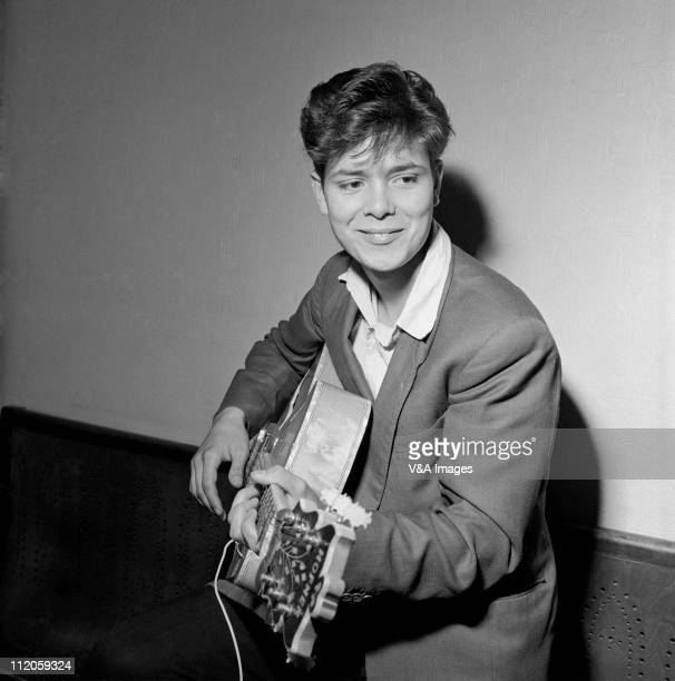 Cliff Richard posed backstage with Hofner guitar 1958