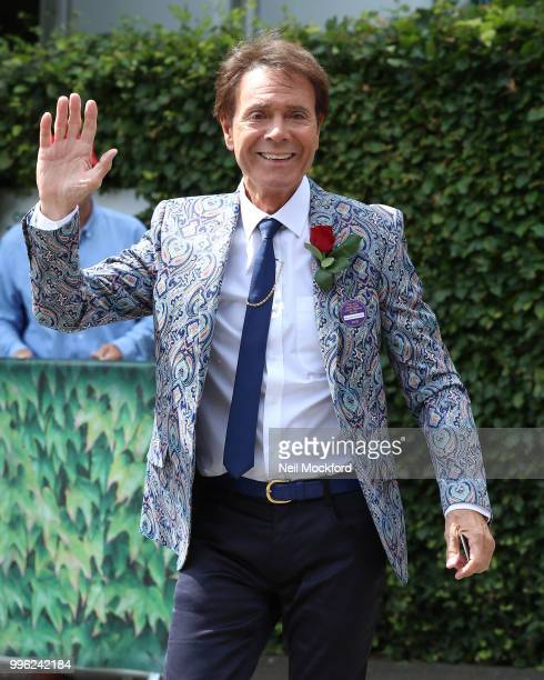 Cliff Richard seen arriving on day nine of the Wimbledon Lawn Tennis Championships at All England Lawn Tennis and Croquet Club on July 11 2018 in...