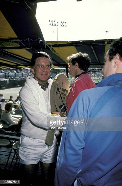 Cliff Robertson and John McEnroe during Pro Celeb Tennis Event to Benefit Juvenile Diabetes Foundation at Forest Hills in Forest Hills New York...