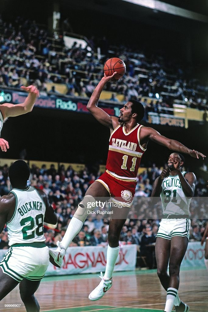 Cliff Robinson #11 of the Cleveland Cavaliers goes up for a shot against the Boston Celtics during a game played in 1983 at the Boston Garden in Boston, Massachusetts.