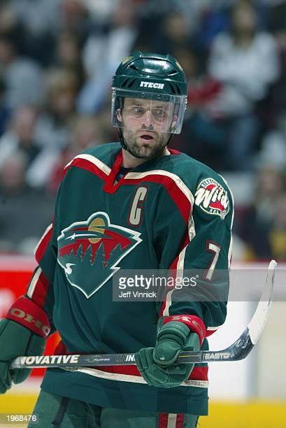 Cliff Ronning of the Minnesota Wild looks on during a break from action in Game two of the Western Conference semifinals against the Vancouver...