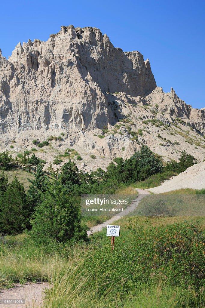 Cliff Shelf Trail, Badlands National Park : Stock Photo