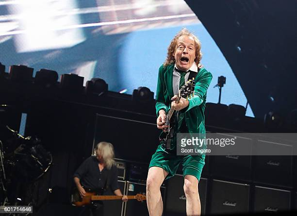 Cliff Williams and Angus Young of AC/DC performs during the Rock Or Bust Tour at The Palace of Auburn Hills on September 9 2016 in Auburn Hills...